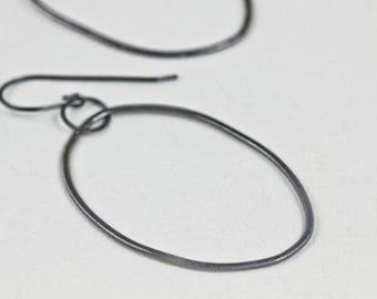 Oval Hoop Earrings, Large Hoop Earrings, Black Sterling Silver Earrings,  Statement Circle Earrings, Large Silver Earrings, Kirstin Earrings