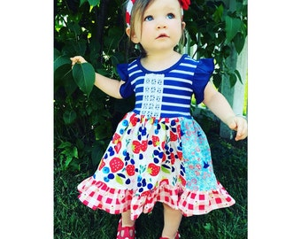 Fourth of July Fruit Festival dress by pink momi boutique