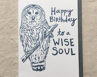 Bird Birthday Letterpress Greeting Card // Happy Birthday Pretty Bird
