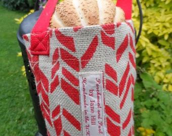 Baguette Bag, Chevron stripe hessian bread bag, French loaf carry bag, Parisienne style bread tote bag, Printed Burlap bag, Free Uk P & P,