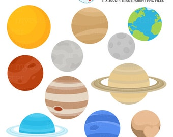 Solar System Clipart Set - clip art of the planets, Earth, moon, sun, Mercury, Saturn - personal use, small commercial use, instant download