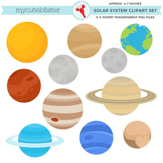 solar system clipart set clip art of the planets earth rh etsy com planet clipart for kids planets clipart black and white
