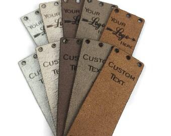 """20 Custom Ultra Suede Tags/2""""x0.75""""/Custom/Laser Engraved/Laser Cut/Garment Tags/Suede Tags/Ultra Suede"""
