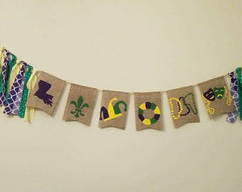 Mardi Gras Banner, Mardi Gras hunting, new orleans, fat tuesday, banner, Burlap, mantle banner, party banner, fireplace banner,
