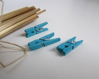20 tiny clothespins - color memo clip - 2.5 x 0.5 cm - 5 colors - 1.1