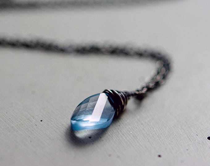 Blue Topaz Necklace, Blue Topaz, Topaz Necklace, November Birthstone, Wire Wrapped, Sky Blue, Sterling Silver, Antiqued, Topaz Jewelry