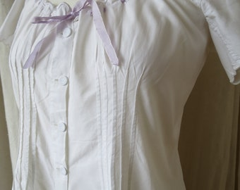 Pretty Antique Victorian Ribbon Tied White Cotton Comination Bloomers