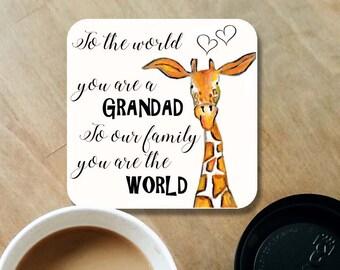 Grandad coaster, wooden coaster, Grandad gift, table coaster, drink coaster, giraffe coasters, Fathers day