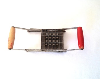 Vintage Fry Cutter Antique Progressus Italy French Fry Cutter Potato Chipper Red Wooden Kitchen Tool