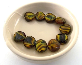 Beads Round Brown and Yellow Wavy Glass 14mm
