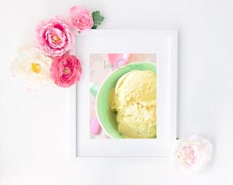 Ice Cream Digital Art Print - Typography, Ice Cream Party, Birthday Party, Ice Cream Printable, Bakery, Kitchen Wall Art, Nursery Decor