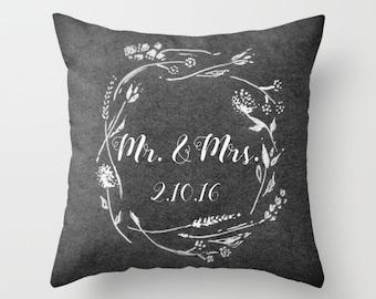 Mr and Mrs Custom Throw Pillow, custom date pillow, wedding date pillow, wedding throw pillow, couple pillow, est date pillow