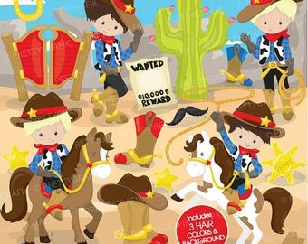 80% OFF SALE Cowboy clipart commercial use,  vector graphics, digital clip art, digital images, wild west - CL774