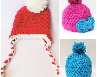 Pattern: Baby Hat Crochet Patterns with Pompom and Bow Pattern .............