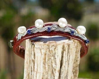 Ceeslove | Pearls, Sapphires .925 Sterling Silver Wire, Silver Swedish Thread, Italian Brown Leather, Agate Button, Handmade with Love