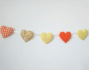 Orange & Yellow Fabric Heart Garland, Floral, Gingham, Gift For Her, Wedding decor, Wall Hanging, Heart Bunting, Handmade Gift