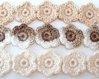 Small Crocheted Flowers - Coffee and Cream Applique - Set of 15