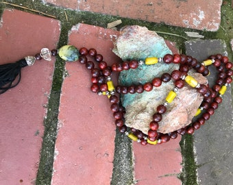 Beautiful red sandalwood MALA. Beaded wood  necklace with coral and stone. Buddhist prayer necklace or bracelet