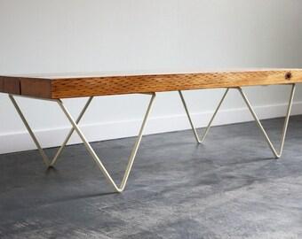 JB bench, coffee table, modern, reclaimed, cream, bench