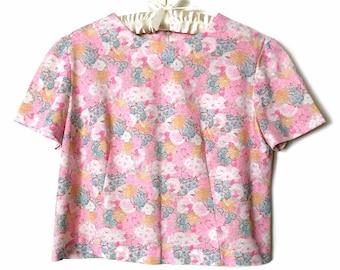 Vintage 1960s Pink Floral Top