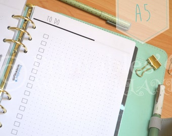 A5 planner inserts printable to do lists inserts - dotted inserts for large / A5 organizer instant download