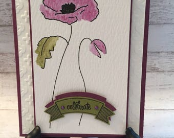 Celebration Card, Handmade Card, 'Celebrate' Card, Watercolor Poppy, Congratulations Card