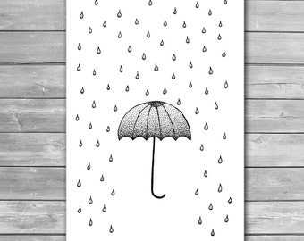 In The Rain, Design Art Poster, Umbrella and Rain, Wall Print, Rain Drops, Minimal Art, Interior Prints, Giclee Print, Fine Art Print, Rain
