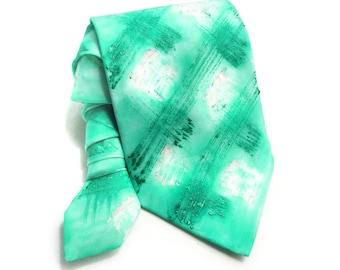 Emerald Man Tie. Hand Painted Silk Tie. For Him. Aquamarine Artistic NeckTie. Anniversary Birthday Grooms Wedding Gift. OOAK Tie MADEtoORDER