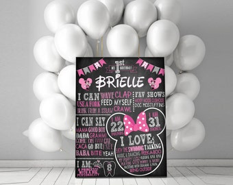 Minnie Mouse Theme First Birthday Chalkboard - Totally Customizable!
