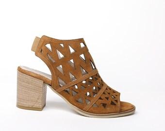 Women's sandals camel suede, women's suede heels camel, camel suede high  heel sandals,
