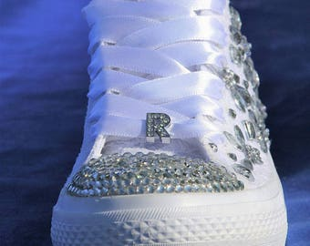 Custom converse sneakers with rhinestone, Wedding sneakers, White bridal sneakers with lace, Wedding trainers bridal trainers with crystals
