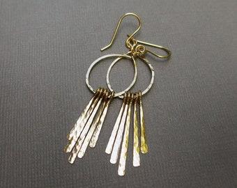 Gold Fringe Earrings, Gold Fringe Hoop Earrings, 14 KT Gold Fill Earrings, Boho Fringe Earrings, Long Gold Dangle Earrings, Modern Jewelry