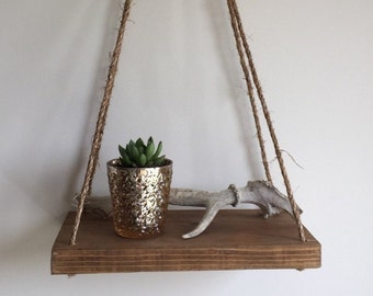 Reclaimed Wood Hanging Shelf, Reclaimed Wood, Suspended Shelf, Rope Shelf, Swing Shelf, Floating Shelf, Rustic Shelf
