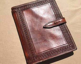 Leather Journal - Handtooled, Handstitched - Made From Saddle Leather