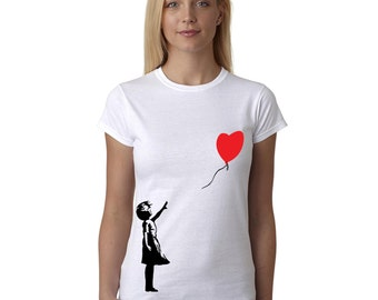 Banksy T Shirt Red Balloon Girl Street Art Graffiti Stencil Artist Women's