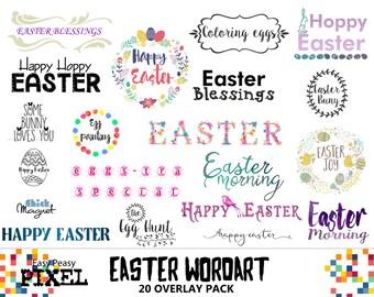 EASTER WORDART, Easter CLIPART, Digital Clipart, Easter Overlays, Easter Overlay, Photoshop Overlays, Spring, Text, Easter, Phrases