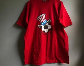 90s USA Soccer Uncle Sam T-shirt - XL