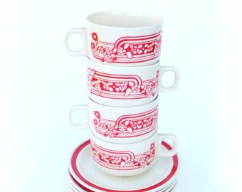 Charming Romanian Folk Art Coffee Service for 4 by FS Made in Romania: Mod 70's Style Red & White Coffee Pot, Sugar Bowl, 4 Cups and Saucers