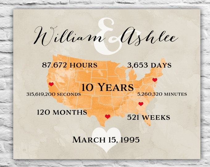 ANY WORDING - Personalized Anniversary Gift for Wife, Partner, 5 year 10 Year 11 years Gift for Her, Anniversary Gift for Couple Parents Tr