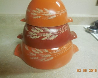 VINTAGE Pyrex Cinderella Bowls Set Of 3 Clean Autumn Wheat