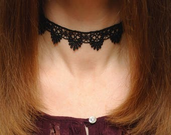 Black choker Lace choker Black lace Choker necklace Lace necklace Lace Boho choker Lace Gothic choker Victorian choker girlfriend gift ideas