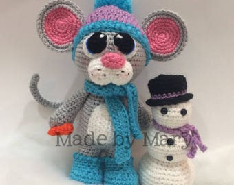 PDF PATTERN: Mouse with Snowman Amigurumi *Crochet Pattern Only, Not Actual Doll* Crochet Mouse