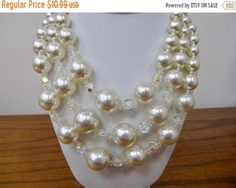 Vintage  Chunky Faux Pearl and Aurora Borealis Crystal Triple Strand Necklace Item K # 3257