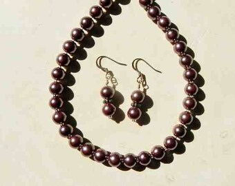 Purple Glass Pearl Strand Necklace With Matching Drop Earrings