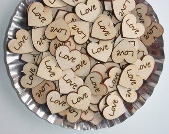 Love  Wood Hearts 2.5 cm - Rustic Wedding.Tiny Wood Hearts .Wood  Hearts .