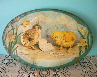 Vintage Tindeco Easter Candy Tin Litho Container Chicks Hatching from Eggs with Daffodils