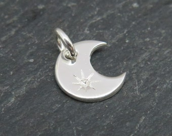 Sterling Silver Crescent Moon Charm 8.5mm