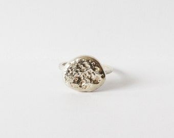 SALE Large Meteorite Ring, Sterling Silver Ring, Pebble Ring, Statement Ring, Rustic, Nature Inspired