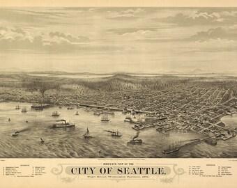 Vintage Map - Seattle, Washington 1878