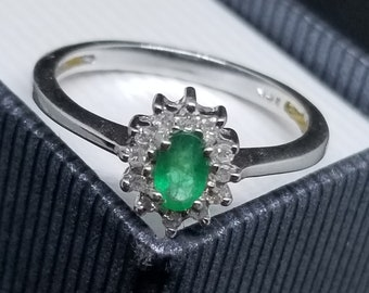 14k White Gold with .12CT Diamond, .30 Emerald Affordable Flower Engagement Ring